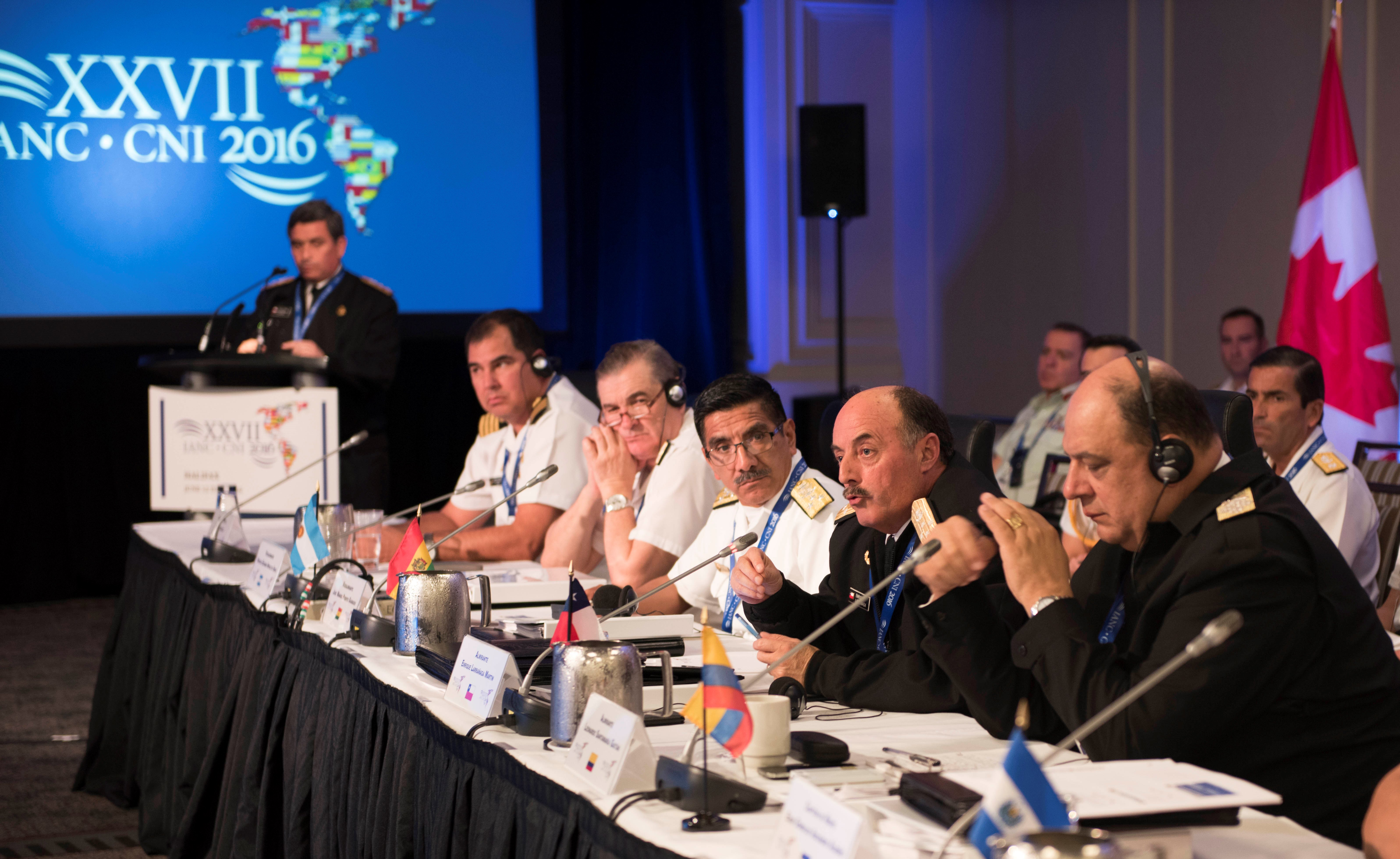 Almirante Martin Enrique Larranaga, Commander in Chief of the Chilean Navy, speaks to the other delegates during the Inter-American Naval Conference in Halifax on June 13, 2016.