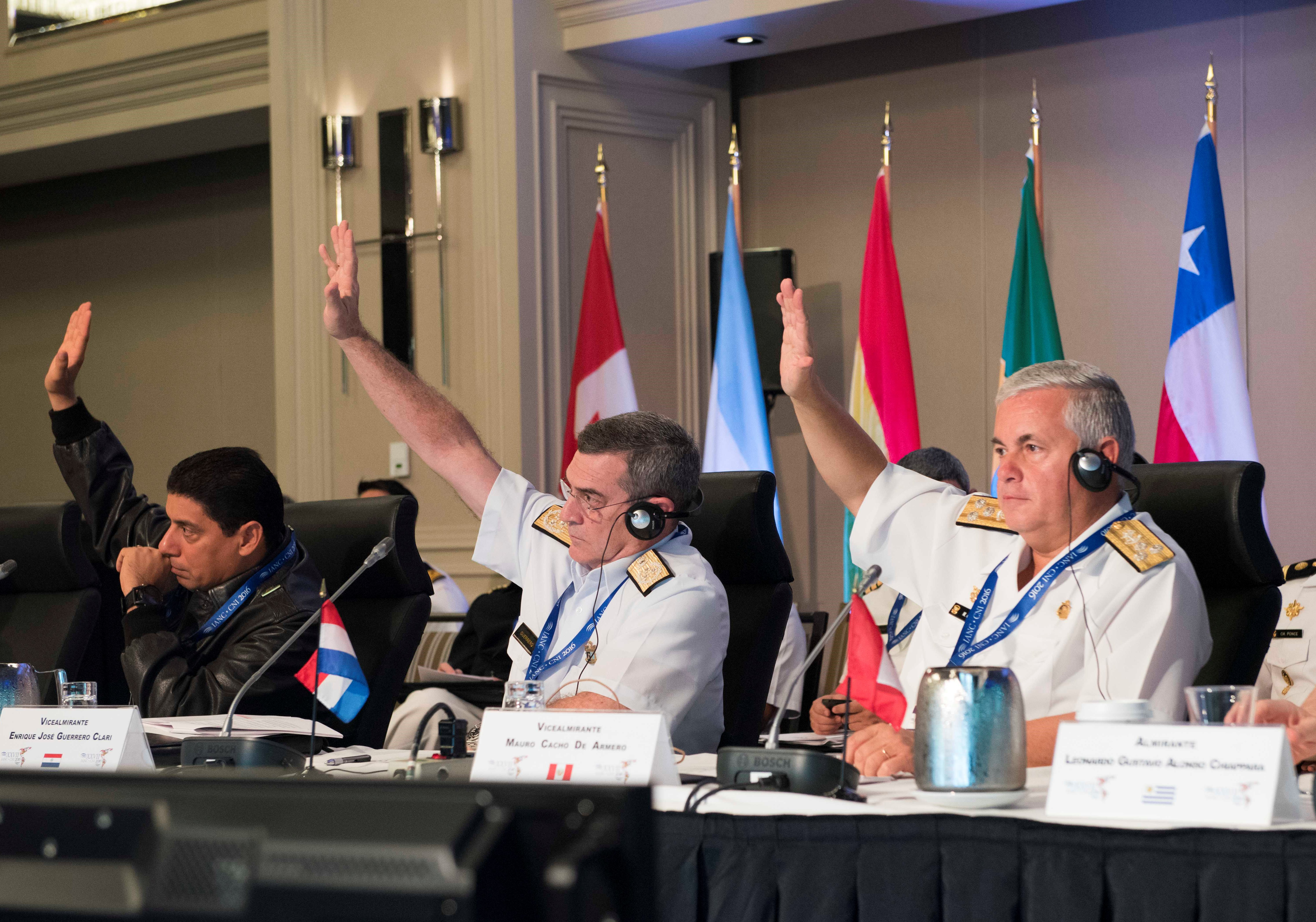 Delegates vote on proposals at the Inter-American Naval Conference in Halifax on June 15, 2016.