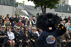 Unveiling of the new Navy Mascot at the Rendez-vous naval de Québec opening ceremony  Photo: Cpl Isabelle Provost