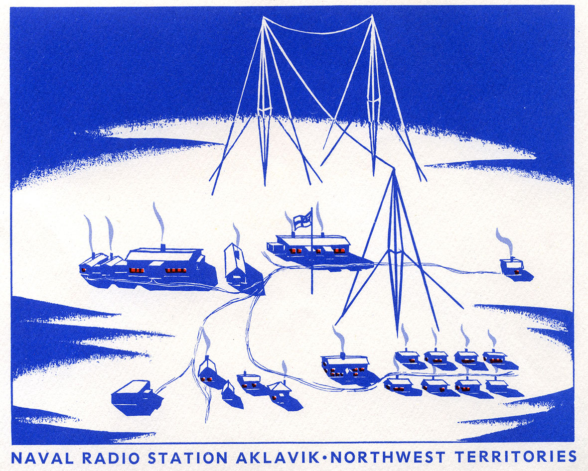 A sketch of the towers and cables that operated at Aklavik
