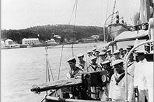 The crew of CGS Canada performing naval militia drills on their winter 1905 cruise to Bermuda.