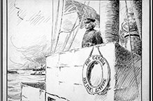 A November 1909 Toronto Globe political cartoon shows Prime Minister Wilfrid Laurier at the helm of the future navy, navigating the conflicting nationalist and imperialist sentiments generated by the issue.