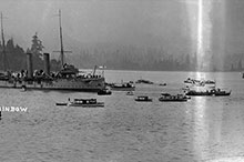 HMCS Rainbow watches over the SS Komagata Maru in Vancouver, July 1914.