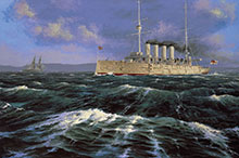 Peter Rindlisbacher, HMCS Niobe at Daybreak, depicting the ship proceeding out to sea.