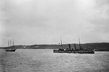 HMCS Rainbow returns to Esquimalt with the captured German schooner, Leonor, May 1916.