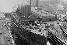 HMCS Niobe in the Halifax drydock being readied for war, August 1914.