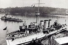 The Canadian fleet in 1921: HMC Ship Aurora (foreground) and destroyers Patriot and Patrician in Esquimalt Harbour.