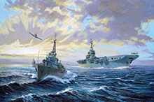 John Horton, The Changing Fleet after World War 2 : le porte- avions Magnificent occupé à des opérations aériennes avec son escorte de destroyers de classe Tribal.