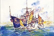 "Doug Bradford, A Dangerous Threat, pictures the ""V""-class destroyer Sioux manoeuvring through local shipping while on patrol in Korean waters, not knowing if friend or foe manned them."