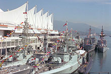 Canadian and allied ships tied up at Canada Place Pier in Vancouver harbour for the navy's 75th anniversary assembly, 23 August 1985.
