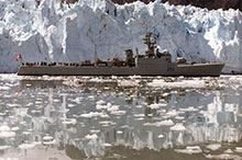 Although obsolete for operational purposes, the Mackenzie class found a new lease on life as the West Coast training squadron, enjoying deployments far and wide, such as this to Glacier Bay, Alaska.