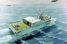 Future warships in the Canadian fleet may yet come to include designs such as artist Geoff Bennett's 1984 interpretation of a large helicopter-carrying SWATH ship.