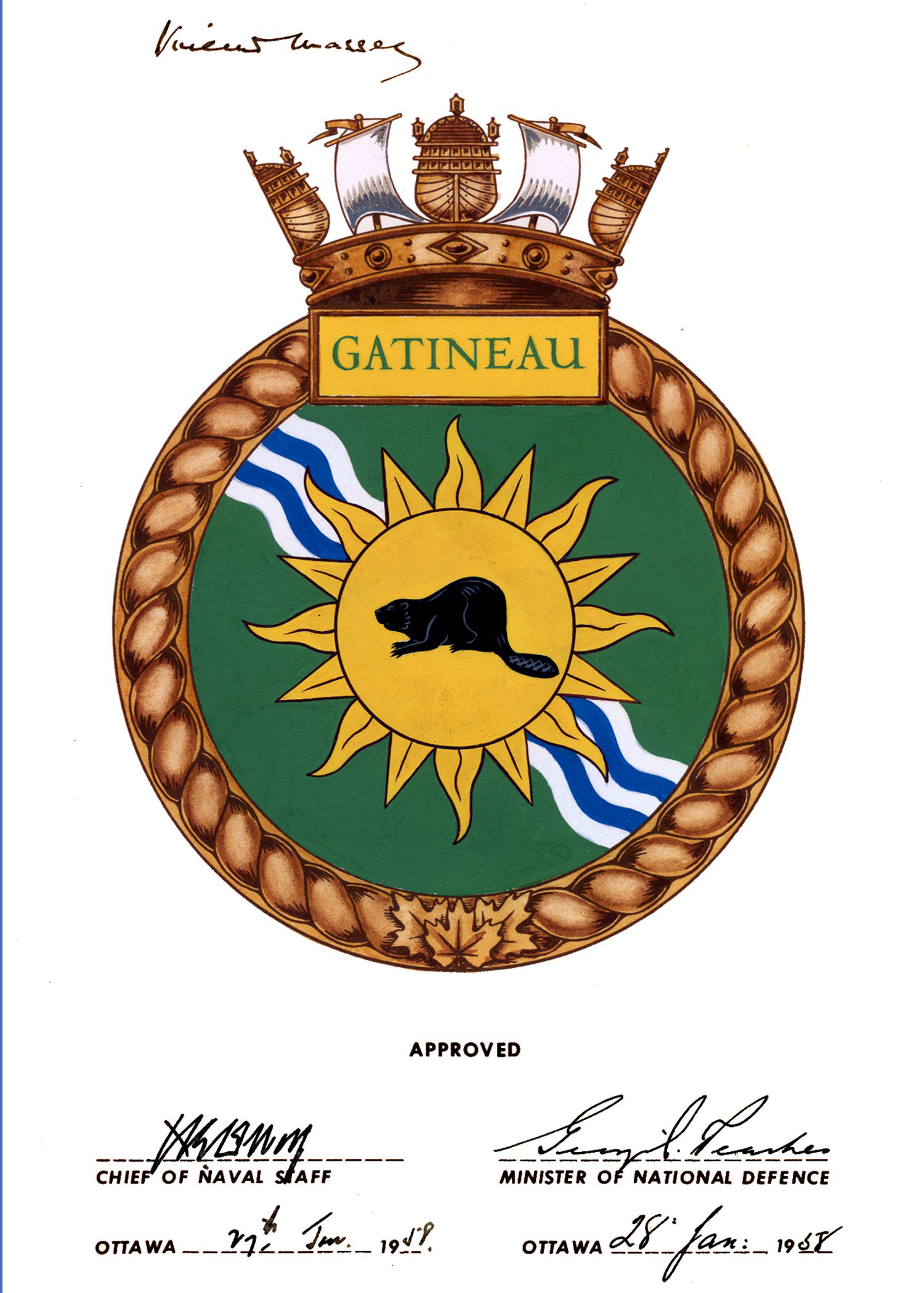 Badge of HMCS Gatineau.
