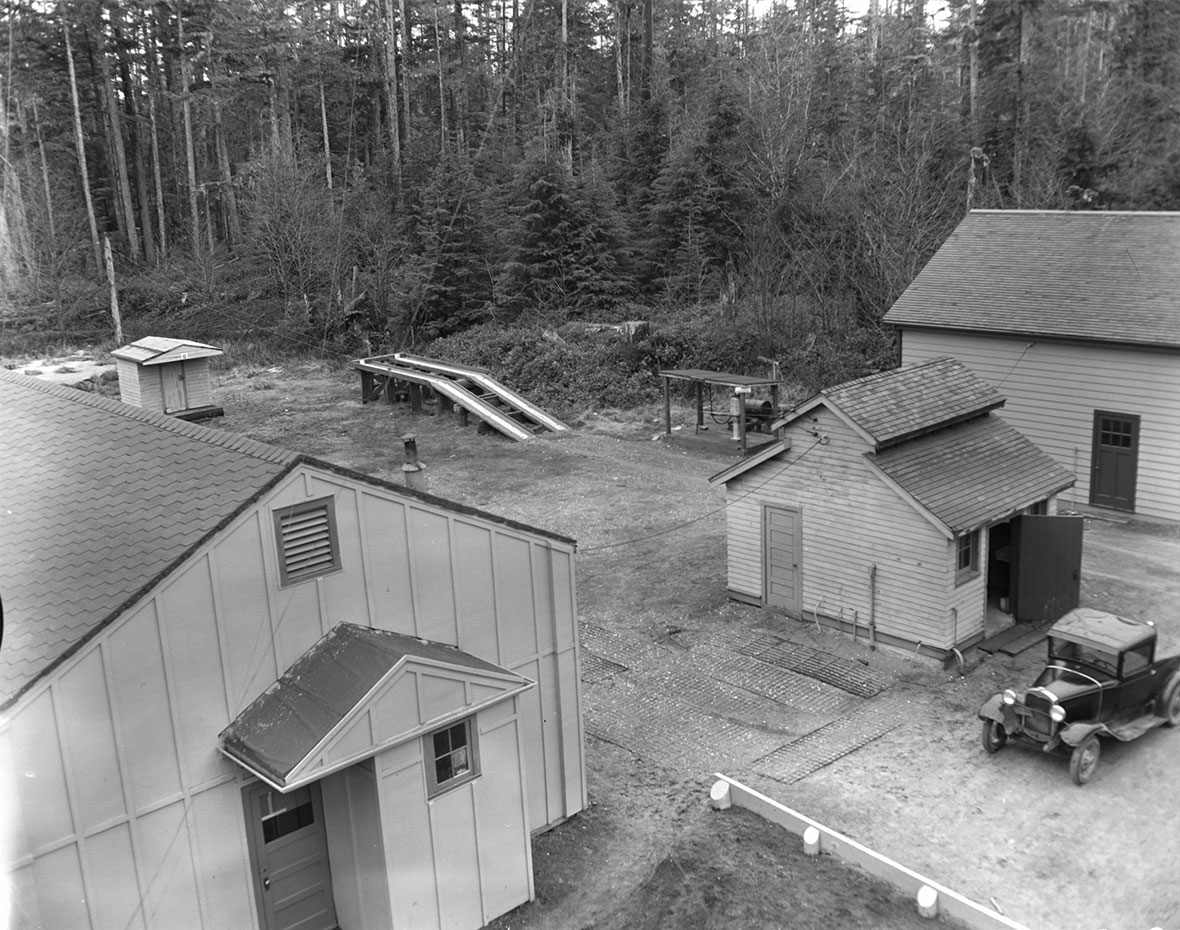 An overhead view of HMCS Masset Naval Radio Station.