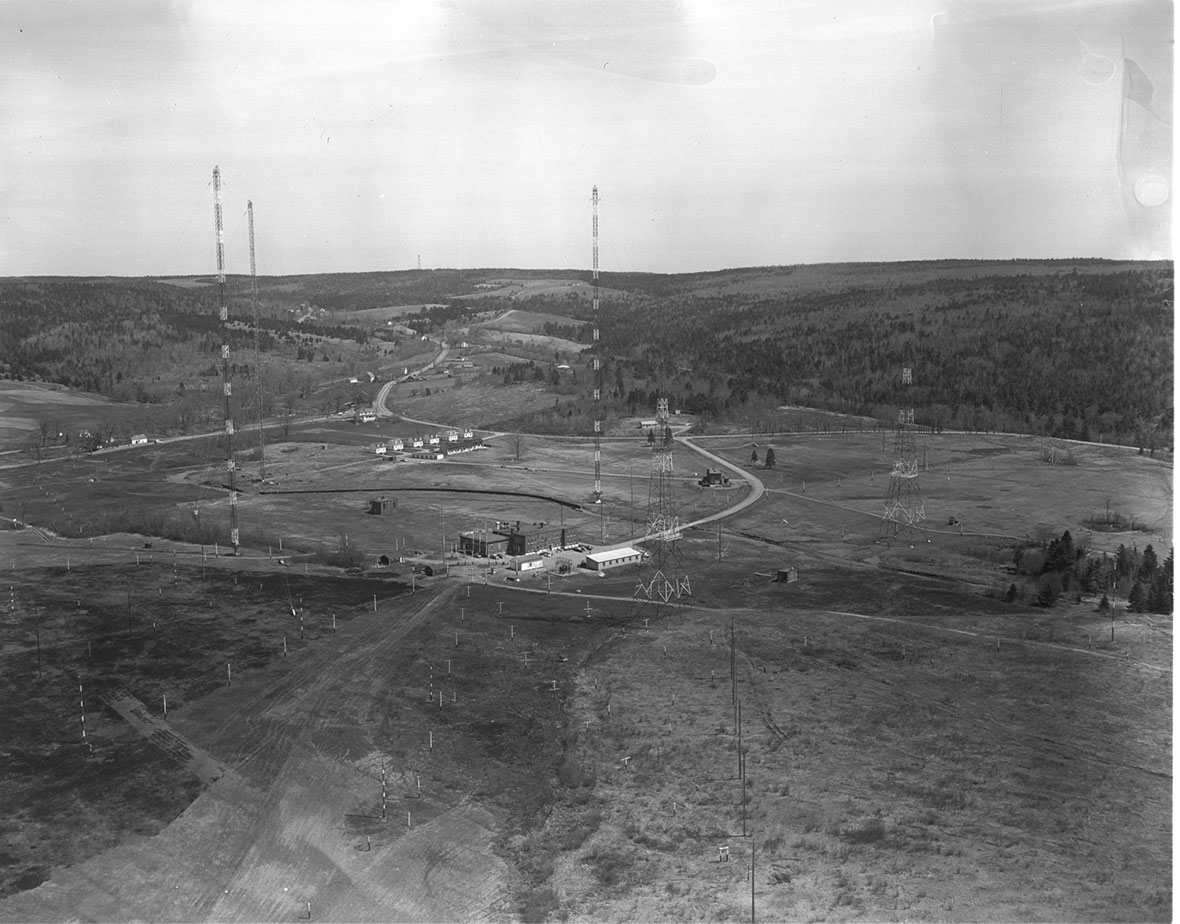 An overhead view of Newport Corner Naval Radio Station.