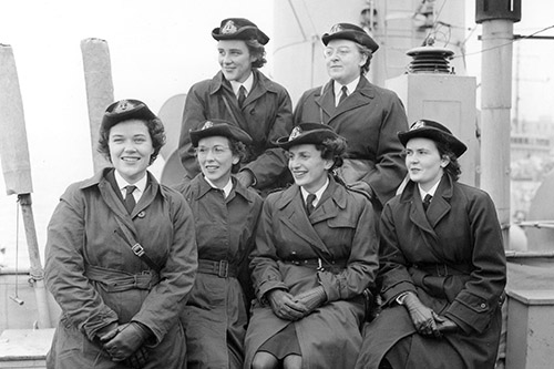 Signal officers of the Women`s Royal Canadian Naval Service (W.R.C.N.S.), Halifax, Nova Scotia, Canada, October 1943. (Front row, L-R): Sub-Lieutenant Marion O'Toole, Probationary Sub-Lieutenants Dorothy Dixon and Freda Bindman, Sub-Lieutenant Daphne Christie. (Rear row, L-R): Probationary Sub-Lieutenants Hazel MacKay and Margaret Booth According to unofficial sources, the name of the Probationary Sub-Lieutenant (Rear row, L) is Aida (or Aiden) Hazen Mackay.