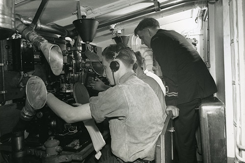 The anti-submarine cabin of the corvette HMCS Cobourg on July 13, 1944.