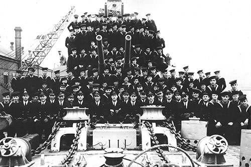 One of the last photos taken of the ship's company of HMCS Athabaskan. On 29 April, 1944, HMCS Athabaskan would be torpedoed and sunk off the coast of France. Of those shown here, 128 would not survive and 86 would be captured.