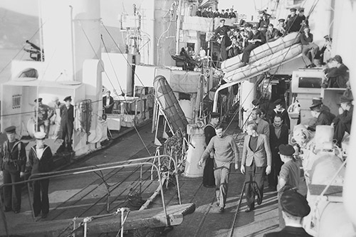 German prisoners being escorted off HMCS Assiniboine after she sank U210.  These prisoners were rescued by HMCS Assiniboine and HMS Dianthus.