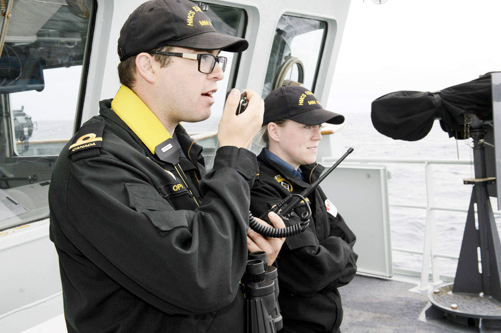 Naval reservists at sea aboard HMCS Edmonton.