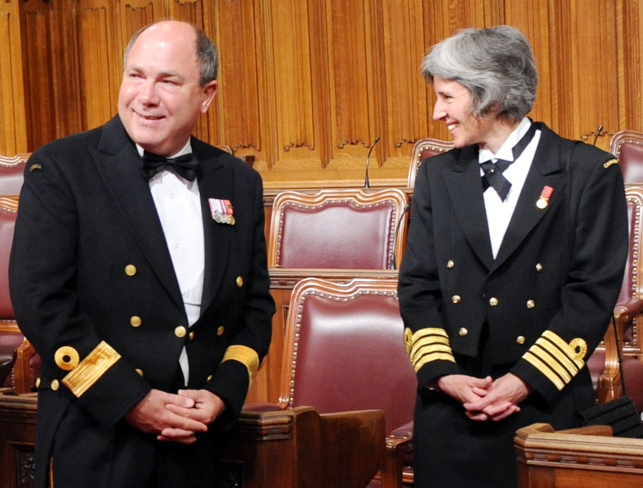 Captain (Navy) Jill Marrack and Commodore David Craig, Commander of the Naval Reserve, visit the Senate Chamber in 2013.  Photo: Dennis Drever