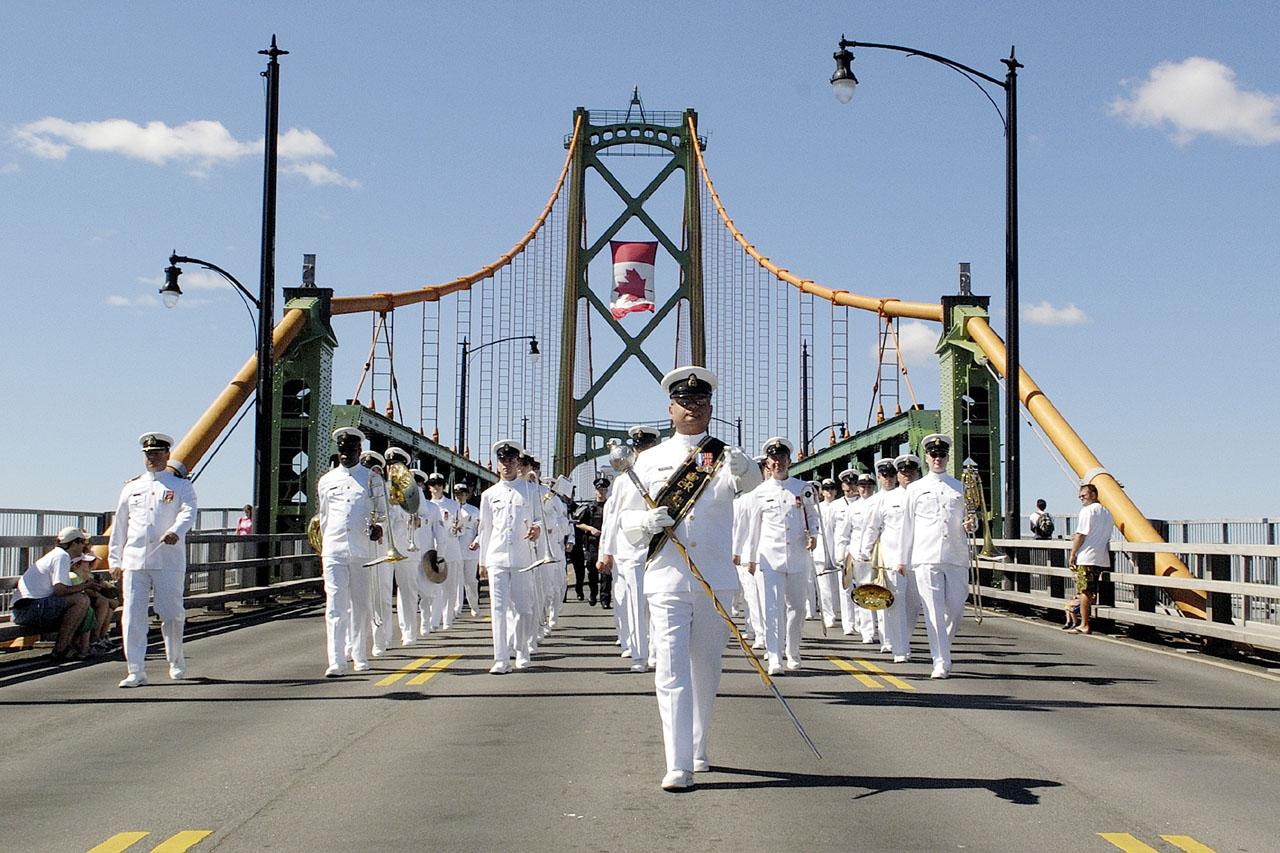 The Stadacona Band marches over the Angus L. MacDonald Bridge