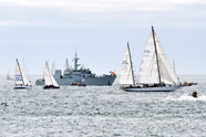 HMCS Oriole, the Royal Canadian Navy's sail training ketch, sails past the start line of the Swiftsure International Yacht Race near Victoria on May 24. This was Oriole's record-setting 57th entry in the Swiftsure race. The navy also supported the event with an Orca-class patrol boat and maritime coastal defence vessel HMCS Nanaimo that acted as start line and mark boats. Photo: Cpl Stuart MacNeil