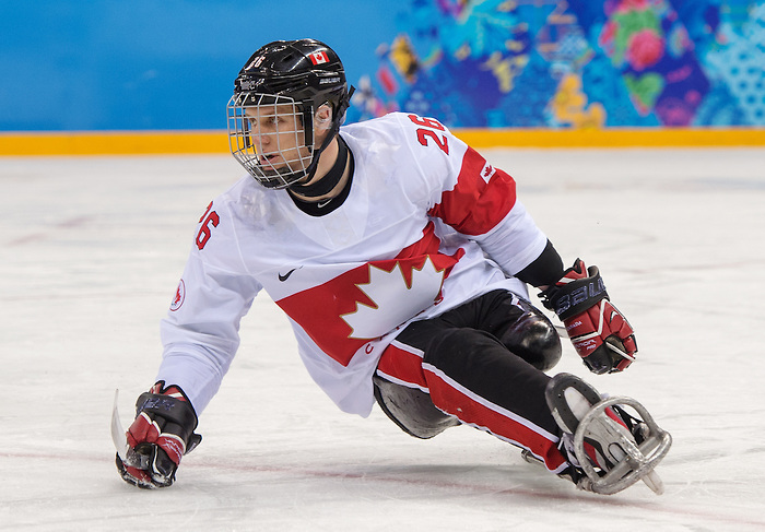 Cpl Dominic Larocque, as Canada takes on Czech Republic in sledge hockey during the 2014 Paralympic Winter Games in Sochi, Russia.