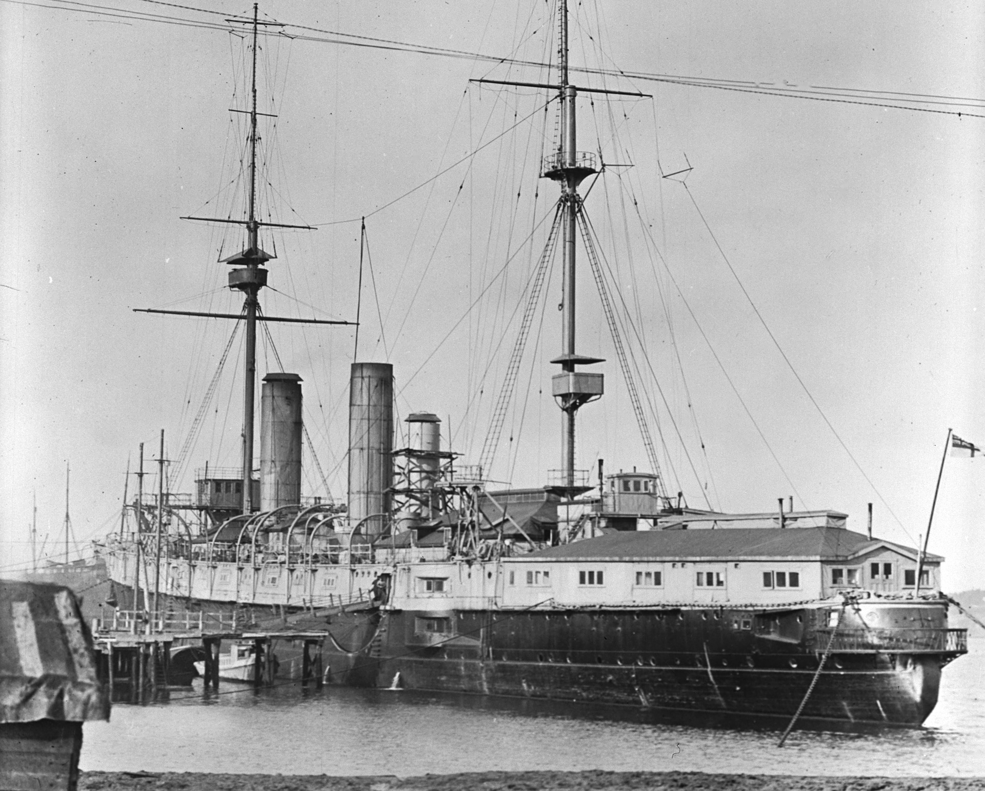 HMCS Niobe in Halifax after conversion to depot ship, c.1916.