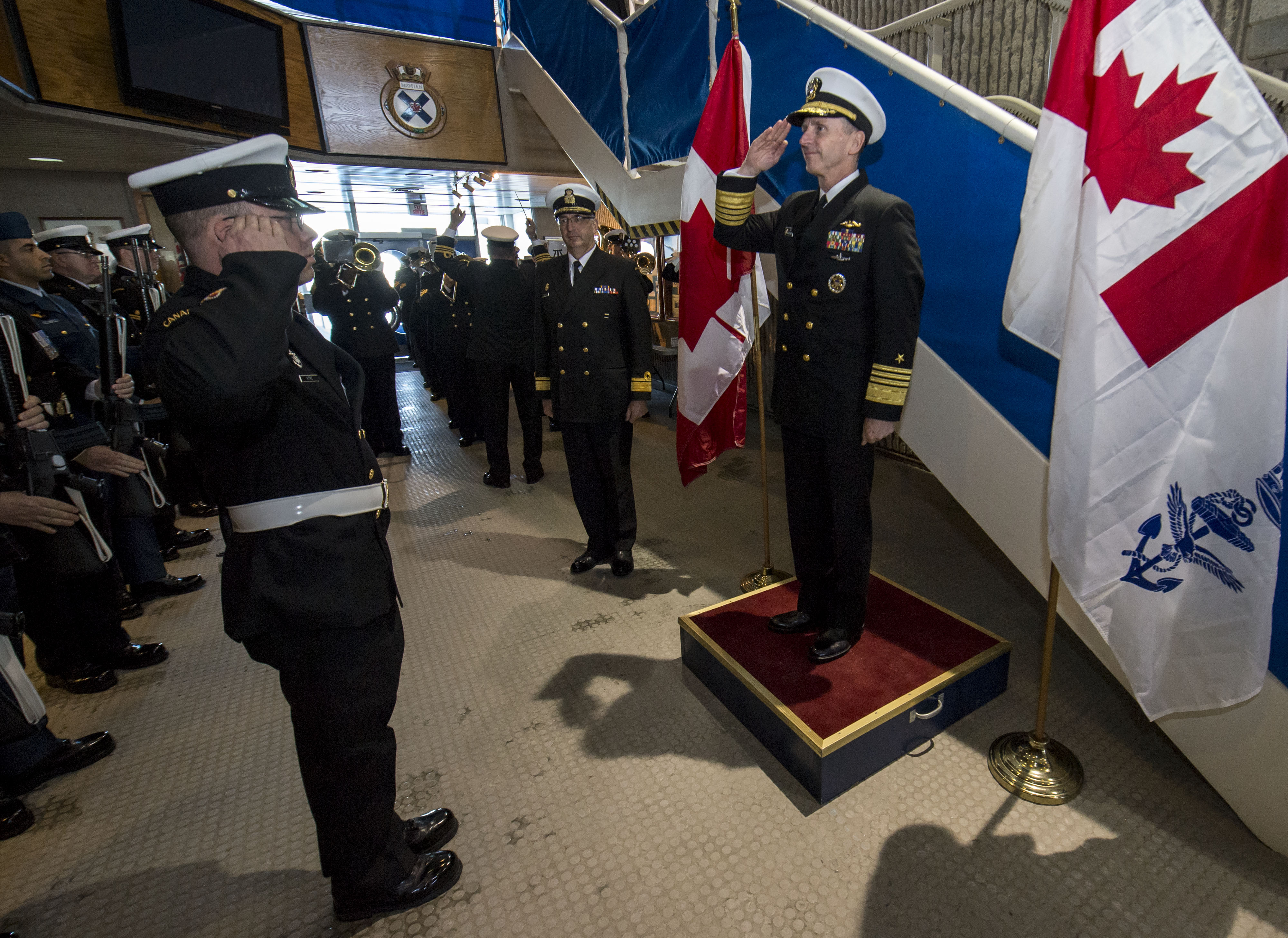 A U.S. Navy Meritorious Unit Commendation was presented to the ship by U.S. Chief of Naval Operations Admiral Jonathan Greenert on February 20 in Halifax.