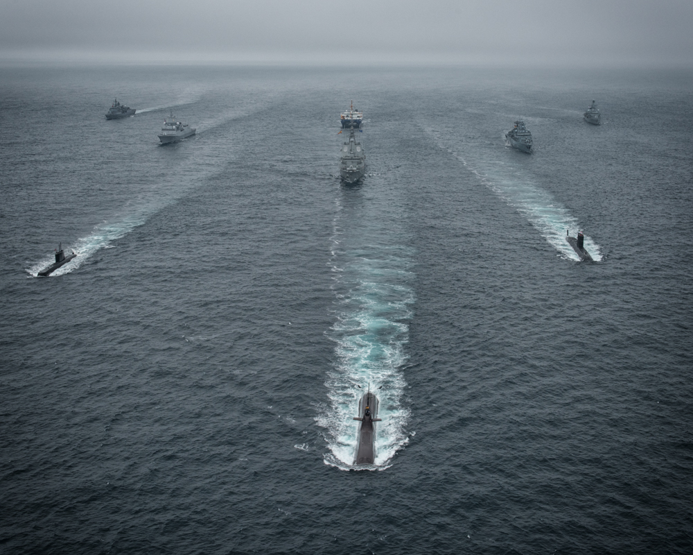 Participants in NATO Antisubmarine Warfare exercise DYNAMIC MONGOOSE 2016, including HMCS Windsor, steam in formation in the Norwegian Sea on June 27, 2016.  NATO photo by WO C. Artigues