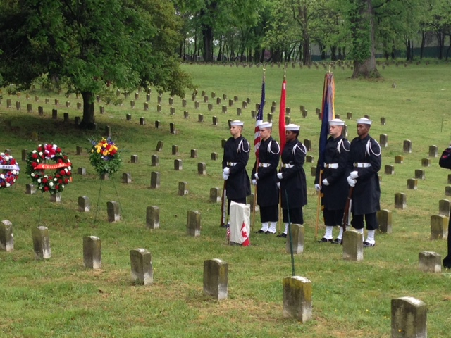 Sentries stand by as Joseph Noil's Medal of Honor headstone is set to be unveiled