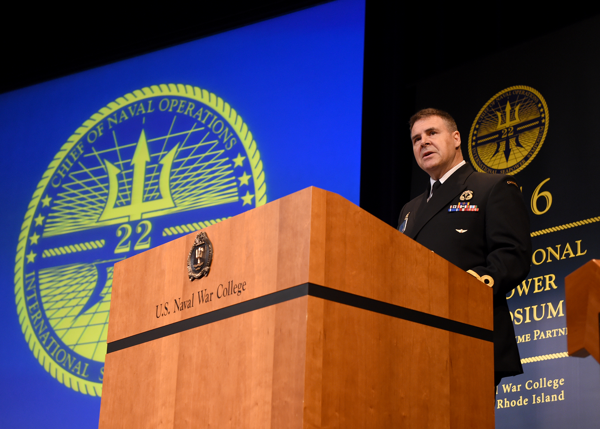VAdm Ron Lloyd, Commander Royal Canadian Navy, addresses the International Seapower Symposium in Newport, Rhode Island on September 21, 2016. U.S. Navy photo by Mass Communication Specialist 2nd Class Jess Lewis