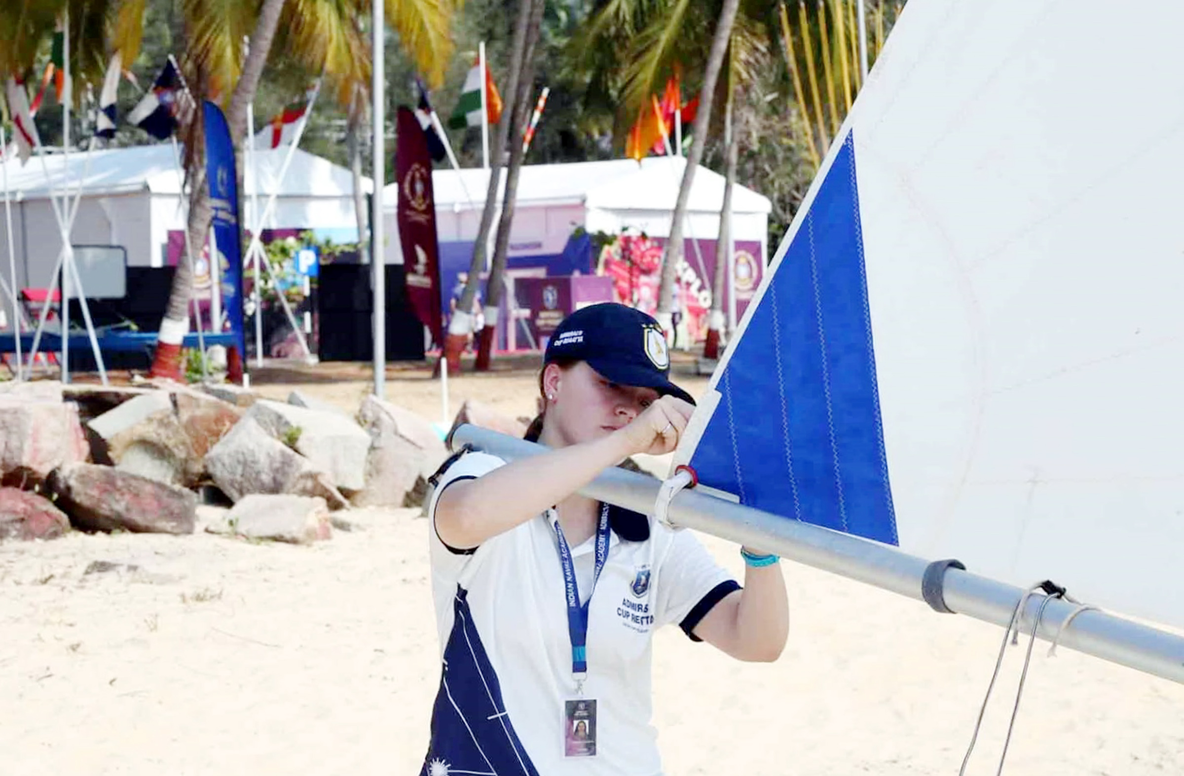 Lieutenant (Navy) Alana Foscarini, a Naval Training Officer at Naval Fleet School (Pacific), prepares her Radial Rig Laser sailing dinghy for competition in the Admiral's Cup Regatta.