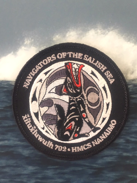The morale patch created by HMCS Nanaimo sailors to honour the local Indigenous peoples.