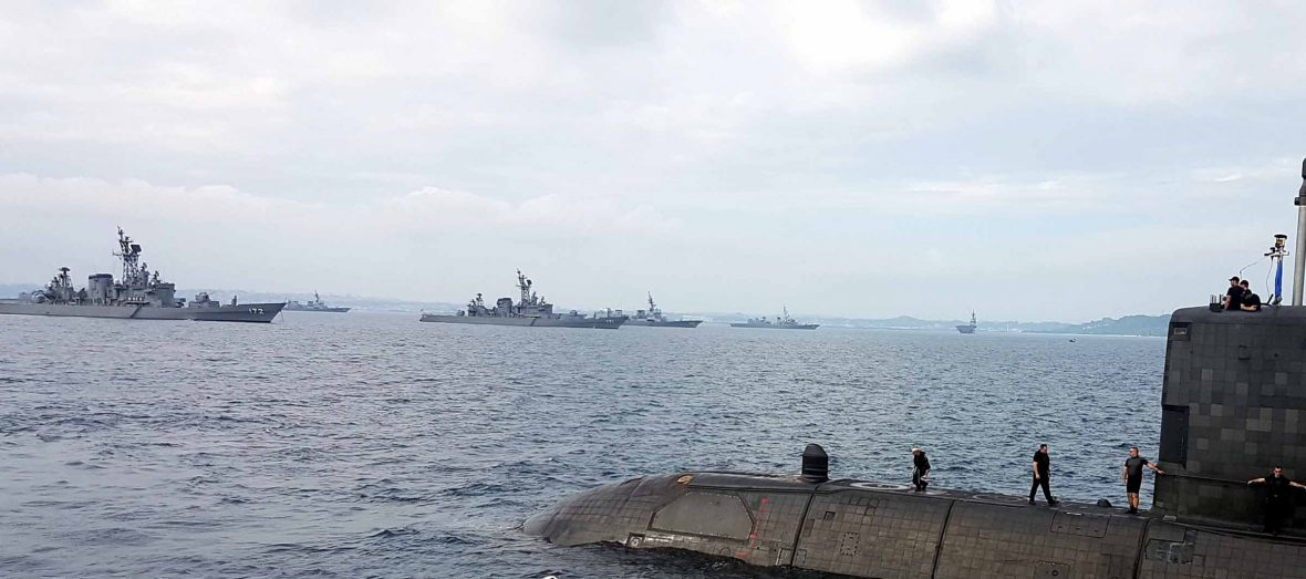 HMCS Chicoutimi sails with ships of the U.S. Navy and the Japanese Maritime Self-Defence Force during ANNUALEX.