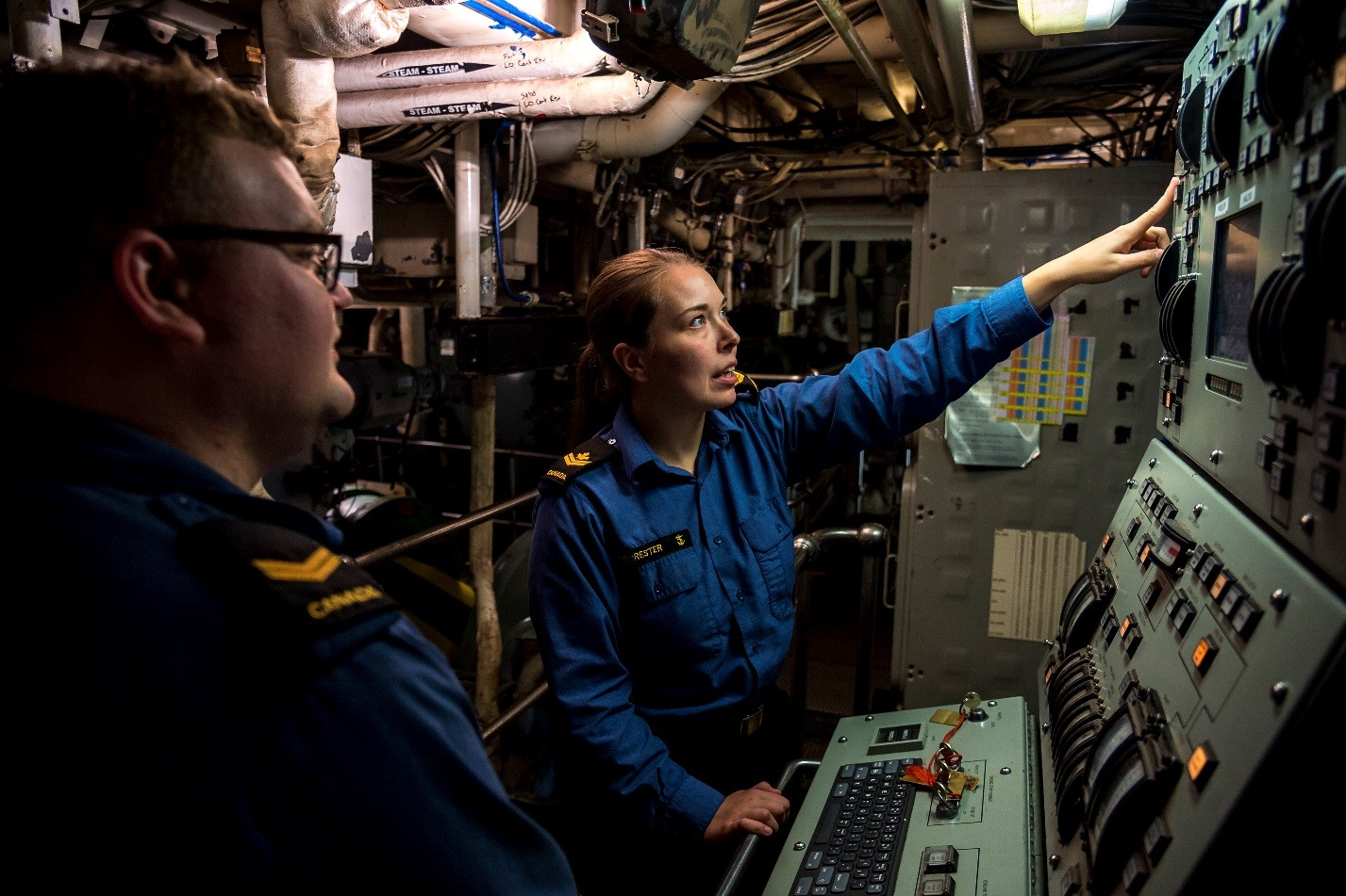 MS Forrester in HMCS Halifax's Forward Engine Room.