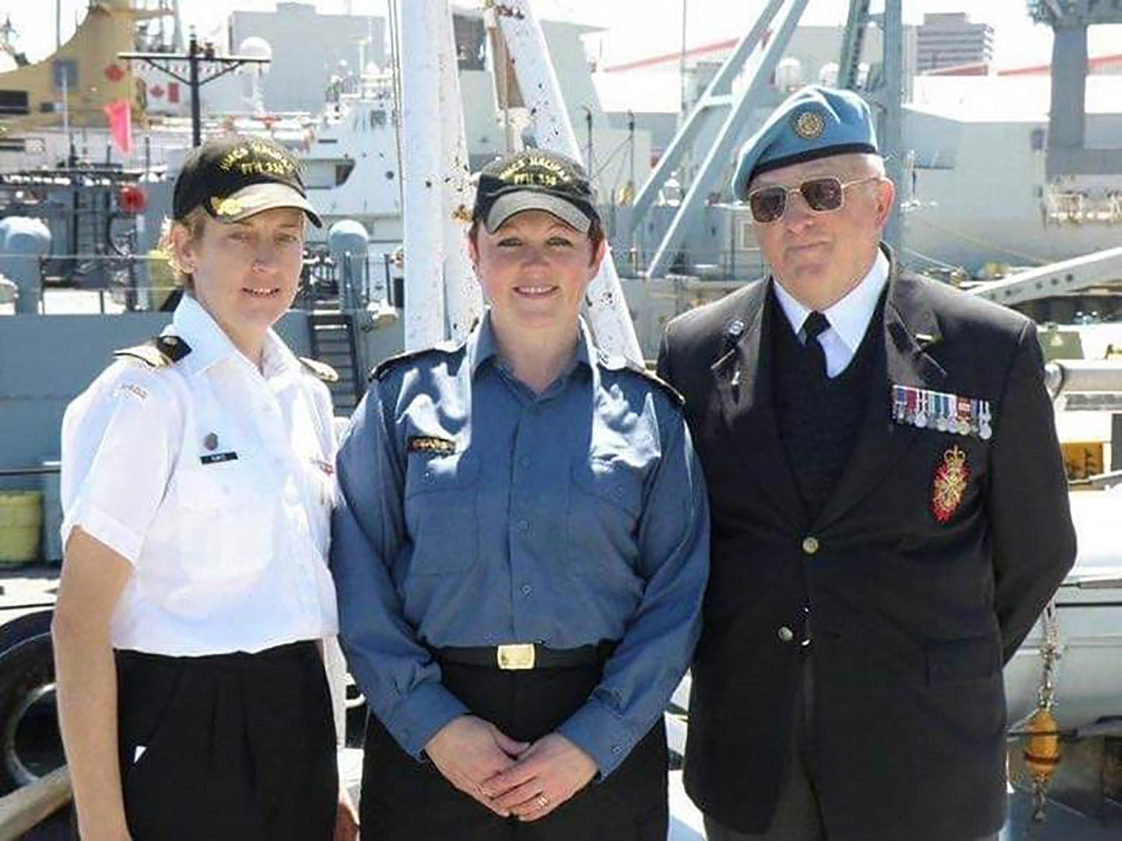 Susana Sears on her promotion day from Master Seaman to Petty Officer 2nd Class. From left: Commodore (then Commander) Josée Kurtz, Petty Officer 2nd Class Susana Sears, and her father, Chief Petty Officer 1st Class (Retired) John McIntosh.