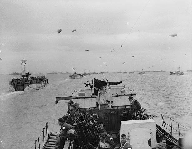 Landing craft in the English Channel during Operation NEPTUNE.