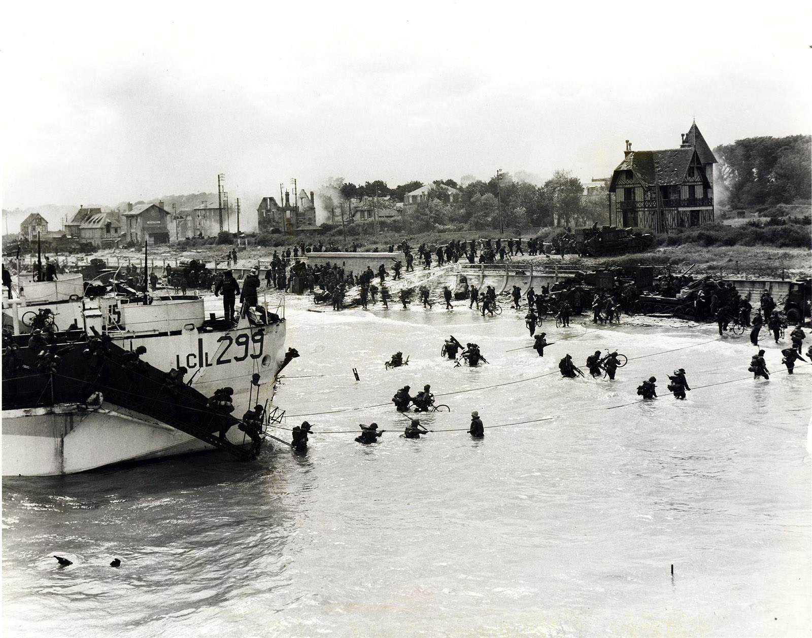 Troops arrive in Normandy