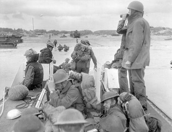 RCN flotillas of landing craft arrive in Normandy on D-Day.