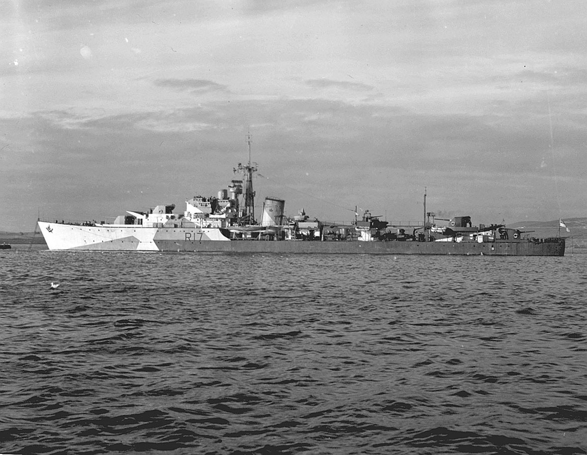 HMCS Algonquin off the coast of France.