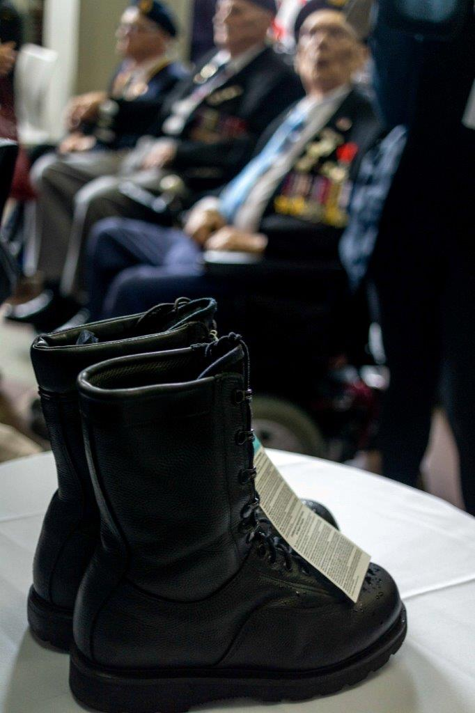 A pair of combat boots arrived at the VIA Rail station in Halifax on June 3. The boots travelled by train across Canada to symbolize the distances that military or prospective military members travelled across Canada, usually by train, in order to reach Halifax, the port from which they would depart for Europe in order to join their branch of the service during the Second World War.