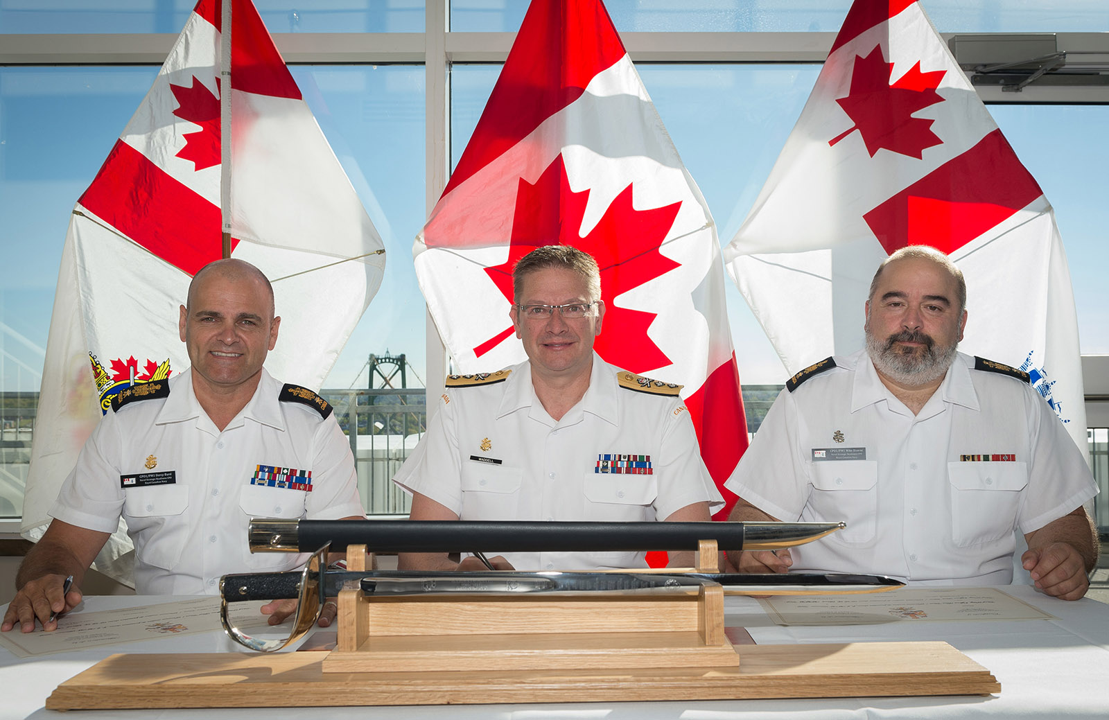 CPO1 Darcy Burd, RAdm Steve Waddell, CPO1 Mike Dionne