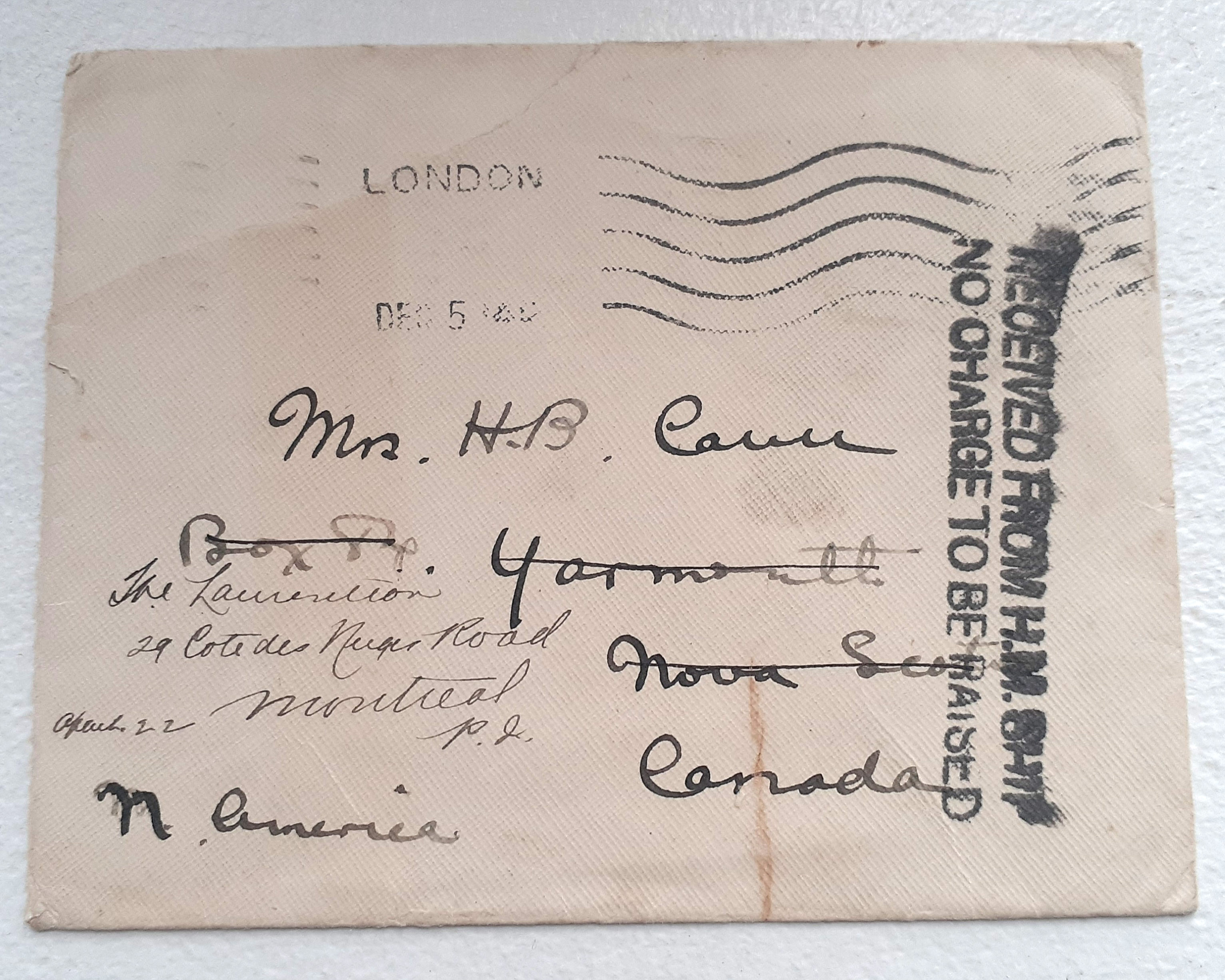 Letter from Midshipman Malcom Cann sent to his mother in Yarmouth, N.S., just before he was lost on HMS Good Hope. It had been forwarded from England, December 1914.