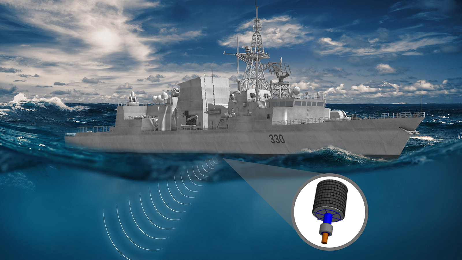 An illustration of the hull mounted sonar.