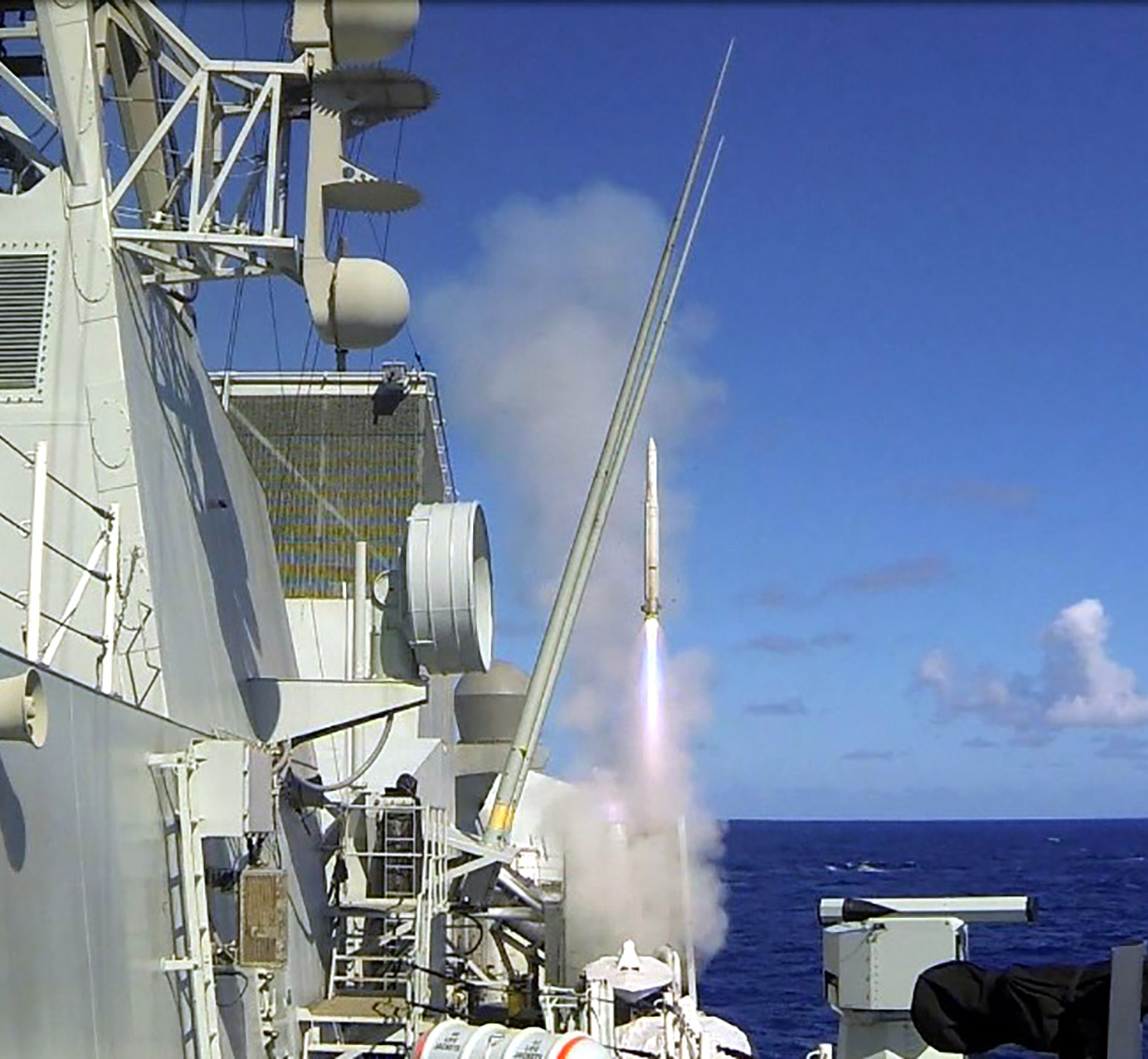 HMCS Vancouver conducts an Evolved Sea Sparrow Missile (ESSM) firing as part of the At Sea Demonstration 16 exercise in the Pacific Ocean on July 16, 2016, during RIMPAC 16. The RCN has fired more ESSMs than any of the 10 ESSM consortium nations.