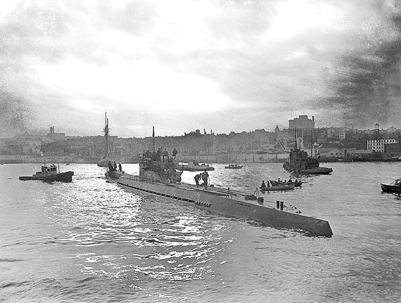 A German U-boat in St. John's after surrendering in 1945.