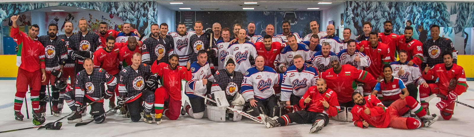 HMCS Regina's hockey team played against an expat team called the Wadi Dogs and the Oman national ice hockey team, the Khanjars.