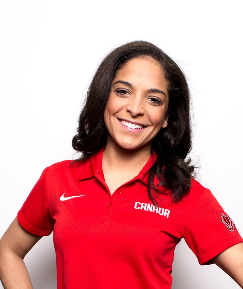 Photo of Master Seaman Keli Carneiro as a member of the Canadian Men's National Basketball administrative team.